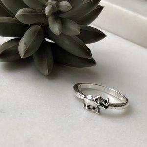 Dainty Silver Elephant Minimalist Boho 925 Ring 7